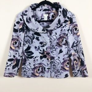 Anthro Odille Purple Floral Corduroy Blazer 4